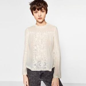Zara detailed linen blouse